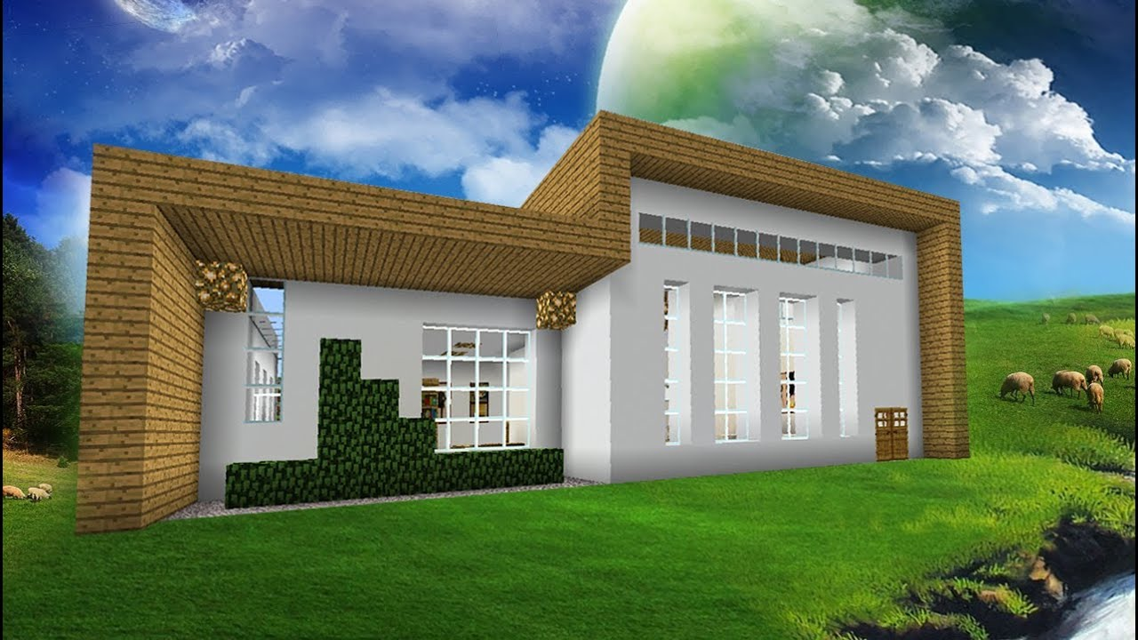 Minecraft episode 74 modern house sandstone bridge for Modern house exterior minecraft