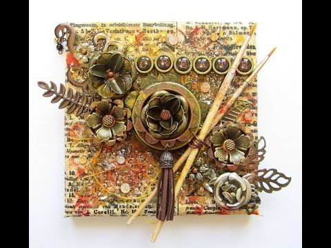 Prima Finnabair Mixed Media Collage Canvas with Metals