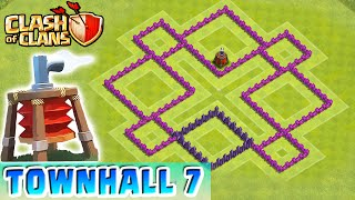 Clash of Clans - AIR SWEEPER DEFENSE STRATEGY - Townhall Level 7 Farming (TH7 Defense Strategy)