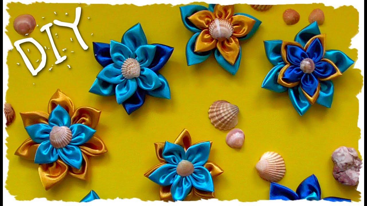 Fiori Kanzashi Tutorial.Tutorial Fiori In Stoffa Estivi Summer Diy Fabric Flowers