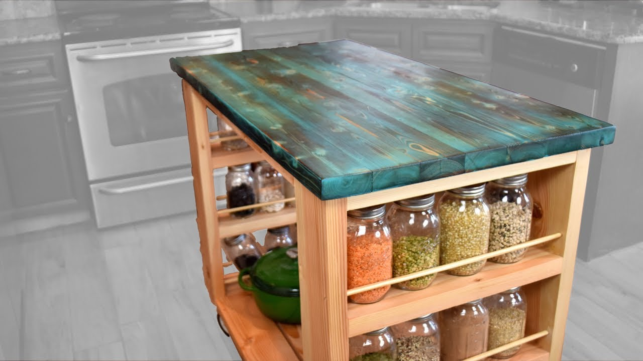 DIY Kitchen Island w/ Stained Shou Sugi Ban Tabletop