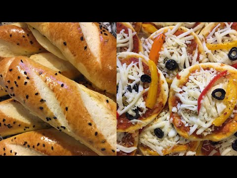 jinene-|-خبز-و-بيتزا-بعجينة-واحدة-/-comment-faire-du-pain-et-des-mini-pizzas-avec-une-seule-pâte