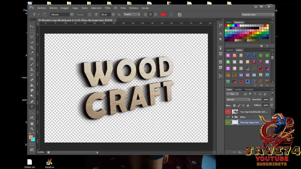 tutorial photoshop como editar plantillas texto 3D - YouTube