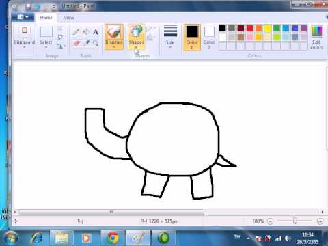 วาดรูปช้างด้วยpaint ครูน้อย satitlru