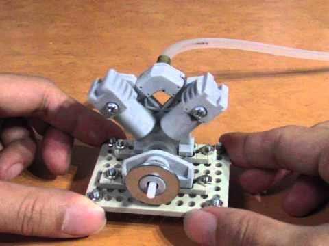 自作蒸気機関(量産型・V型二気筒改) handmade steamengine(V2 MP2)