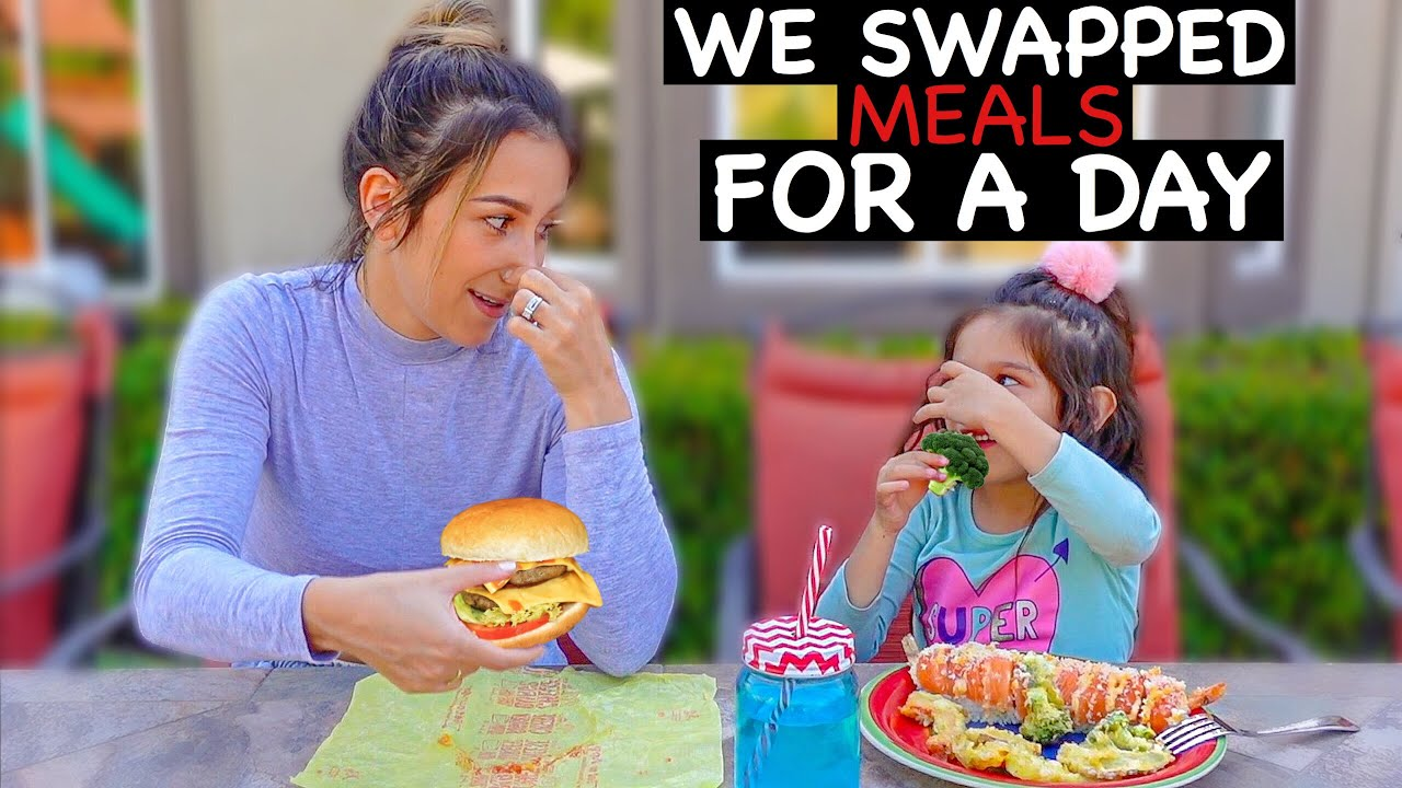 SWITCHING MEALS With My 5 YEAR OLD Daughter for 24 HOURS! **GONE WRONG**