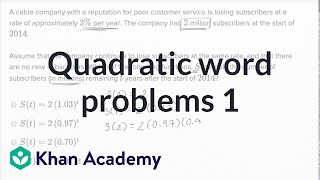Quadratic And Exponential Word Problems  Basic Example | Math | New SAT | Khan Academy