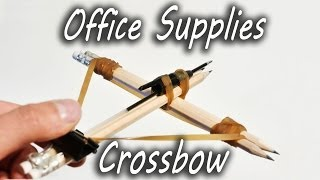 How to make an office supplies crossbow. Fun and simple mini toy to make from stationary. Bored at work? This simple tutorial will