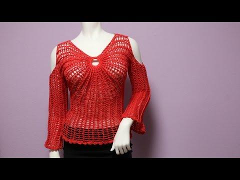 8065492c8 Blusa Mariposa sin Hombros Crochet