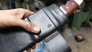 Forging a 800 layer pattern welded Khukuri knife, part 3, making the scabbard.