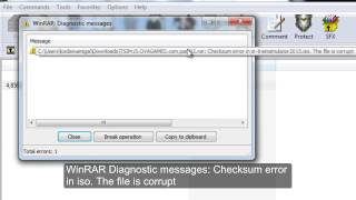 WinRAR Diagnostic messages: Checksum error in iso. The file is corrupt