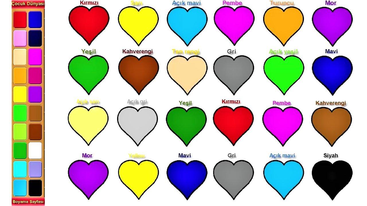 Okul öncesi çocuklar Için Kalp Boyama Ile Renkleri öğrenme çocuklar