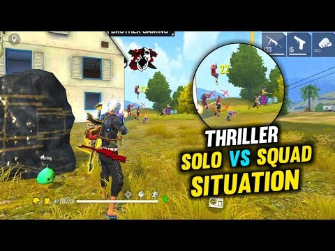 Thriller Solo Vs Squad Situation Best Gameplay - Garena Free Fire