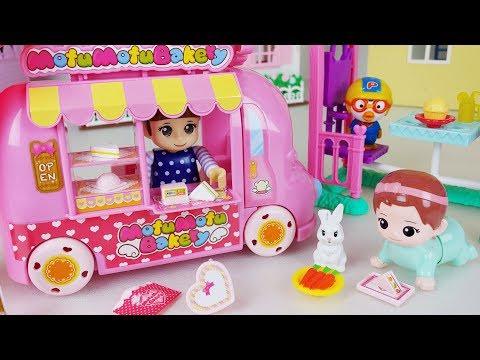 Baby Doll food car and shop cooking play story music - ToyMong TV 토이몽