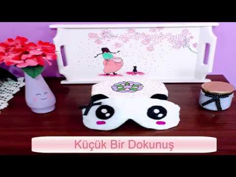 Uyku Bandı ( Maskesi ) Puf Puflu Panda _ Kendin yap ( Dıy)