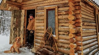 Off Grid Log Cabin: Alone with my Dog in an Ice Storm