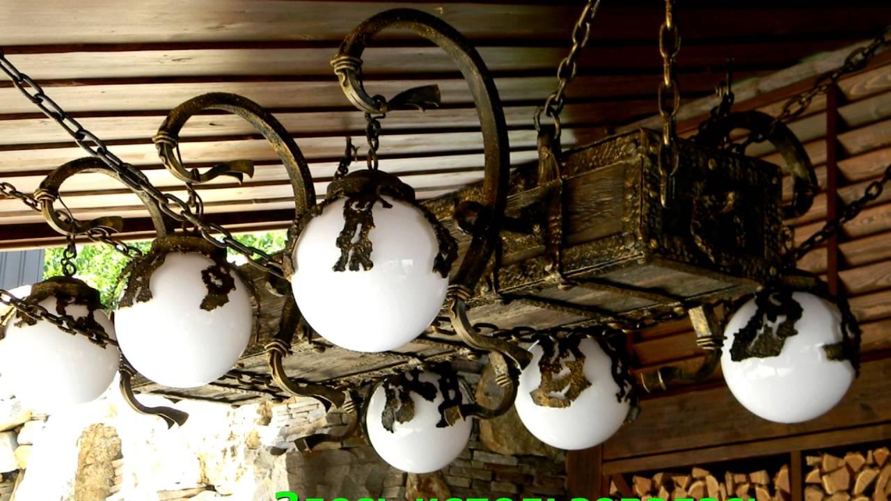 Оригинальная люстра бревно на цепях купить недорого Днепропетровск .