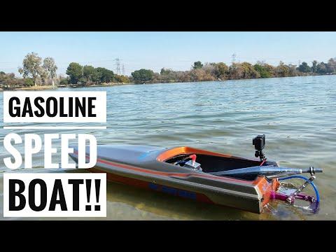 Gasoline RC Speed Boat!! — No Nitro!! - Legg Lake California Go Pro - Smith RC Studios