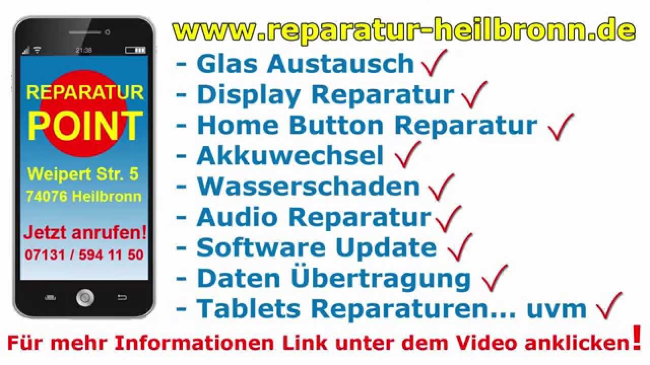 reparatur point tel 07131 594 11 50 gesch ft f r handy reparatur in heilbronn youtube. Black Bedroom Furniture Sets. Home Design Ideas
