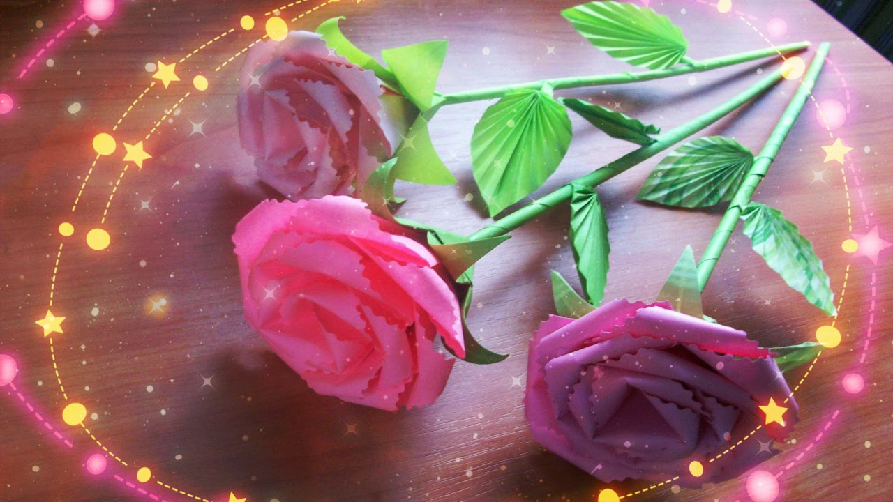DIY  Handmade Cute Flowers  How to Assemble a Paper Rose With a Stem     DIY  Handmade Cute Flowers  How to Assemble a Paper Rose With a Stem    Leaves  a Calyx   YouTube