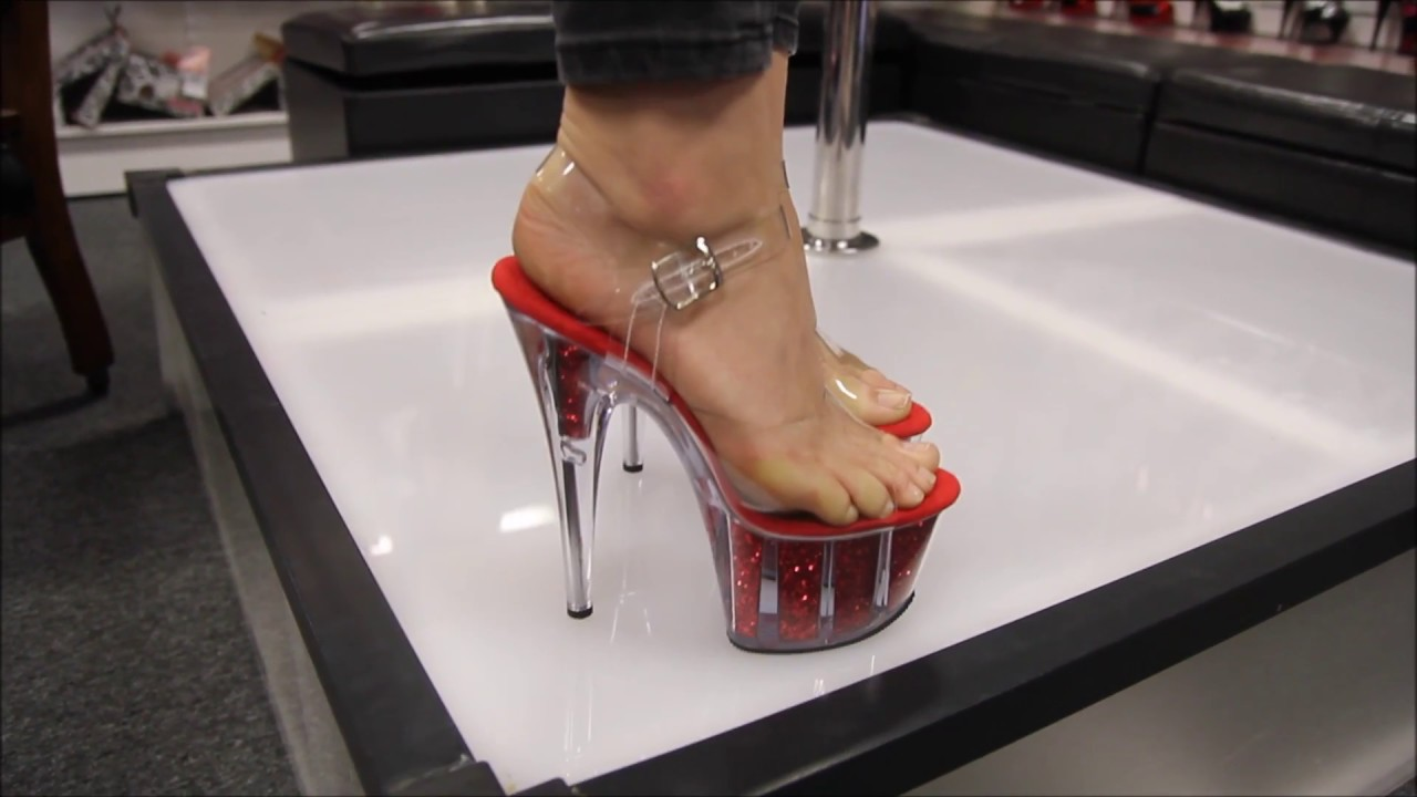 daf3de2d7f Review Pleaser Adore 708 G Red Glitter 7 Inch High Heel Shoes - YouTube