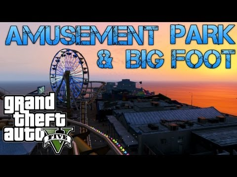 Grand Theft Auto V Challenges | AMUSEMENT PARK AND BIG FOOT | PS3 HD Gameplay