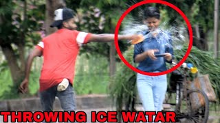 THROWING ICE WATER IN THE FACE PRANK ON GIRLS || DANGEROUS PRANK EVER || BY - MOUZ PRANK