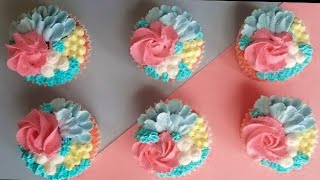 How to make whipped cream flower cupcakes - easy cupcake decorations for beginners