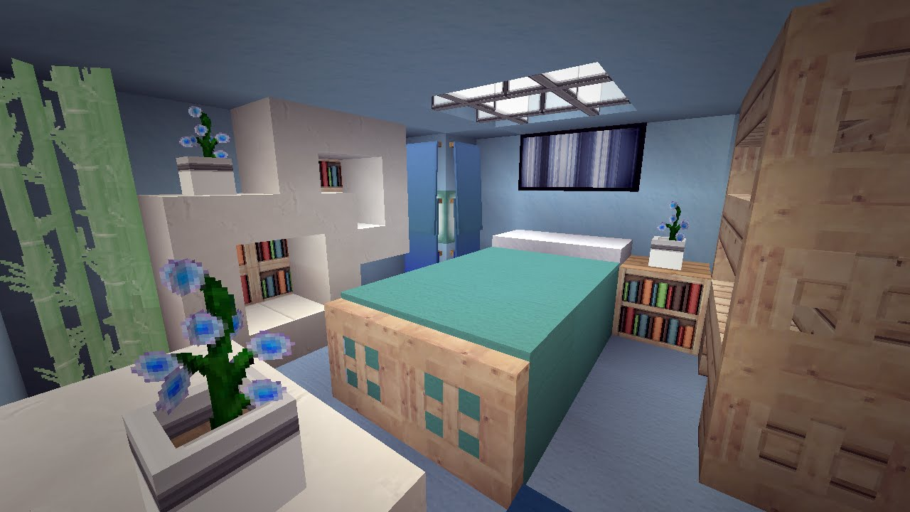 Minecraft modern cool blue bedroom design youtube for Bedroom ideas on minecraft