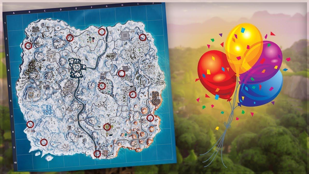 Balloon Skin Fortnite Season 9 Pop 10 Golden Balloons All Locations Fortnite Week 9 Challenges Battle Royale Season 7 Guide Youtube