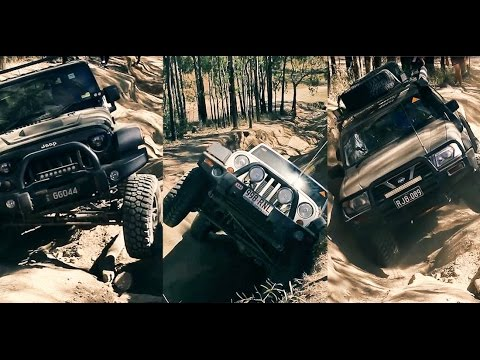 jeep wrangler and nissan patrol on camp road 4x4 offroading - youtube