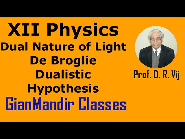XII Physics | Dual Nature of Light | De Broglie Dualistic Hypothesis by Poonam Ma'am