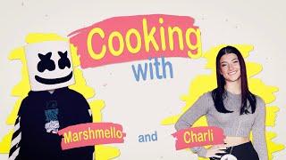 Quarantine Snacks w/ Charli D'Amelio - Stuffed Puffs Rice Krispie Treats | Cooking with Marshmello