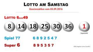 Lottozahlen ziehung vom lotto am samstag 3.9.2016 -