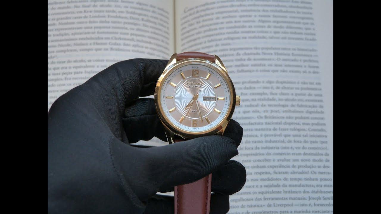 Relógio Technos Automático Dourado 8205NL 2K Masculino Aço Couro ... 09260affe0