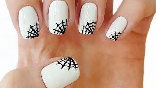 Маникюр - Паутина на ногтях(Как быстро нарисовать паутинку на ногтях без специальных средств для маникюра. Паутина на белых ногтях..., 2016-10-20T02:00:00.000Z)