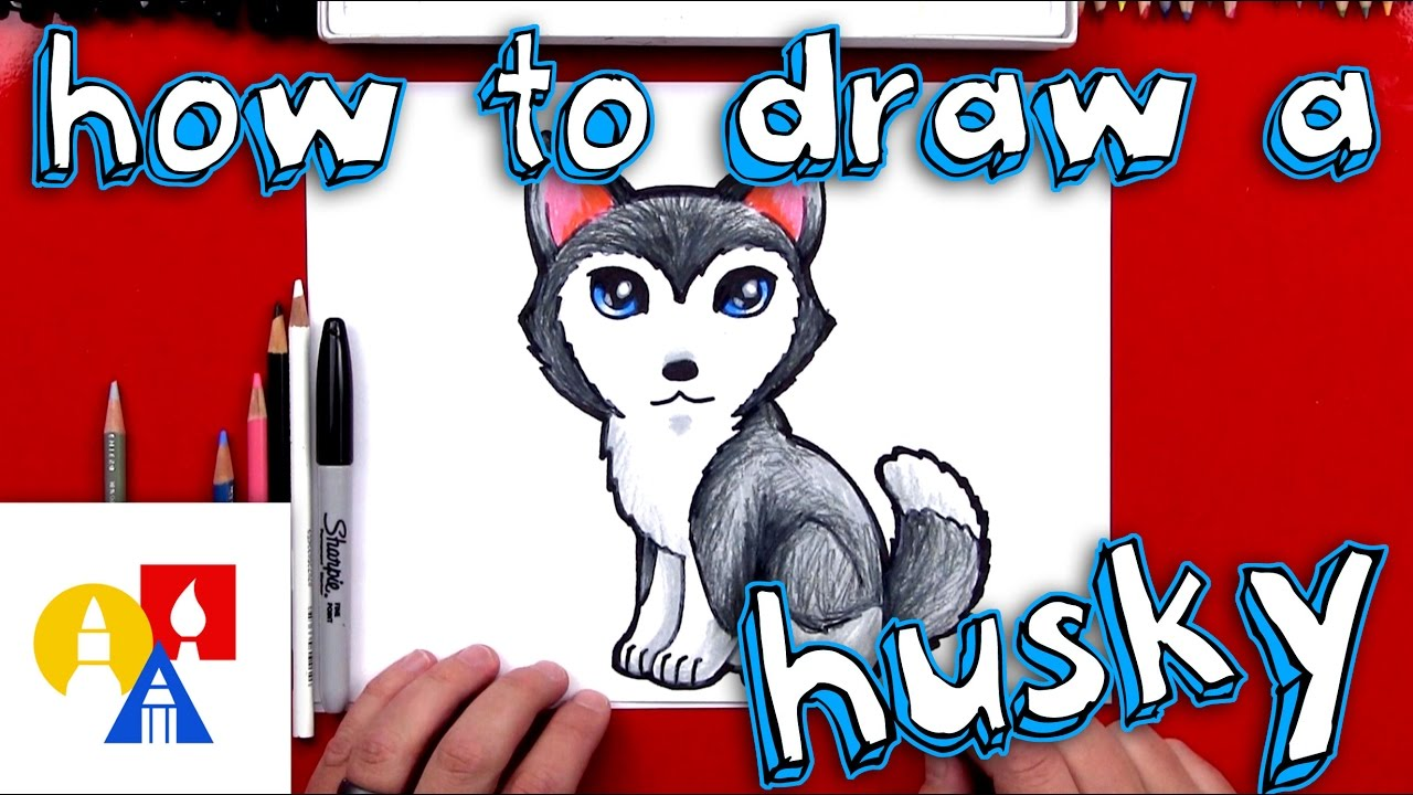 How To Draw A Cartoon Husky Youtube