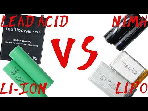 Battery Type Comparison || Lead Acid VS NiMH VS Li-Ion VS Li
