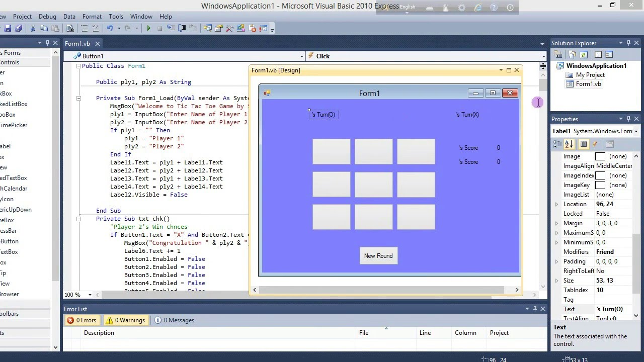 Tic Tac Game In Visual Basic With Source Code