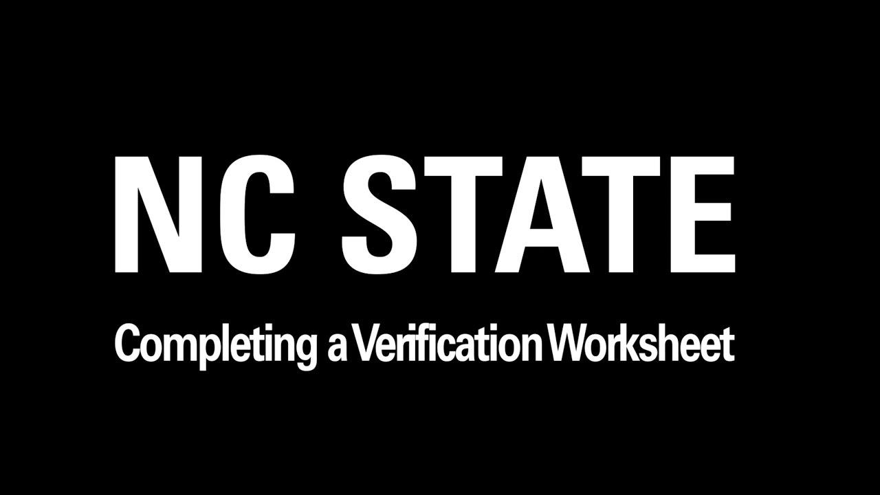 Verification Worksheet Tutorial Youtube