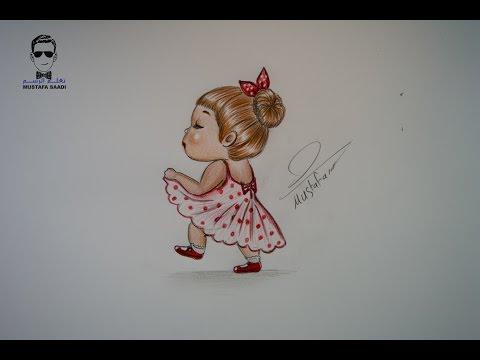 تعلم رسم فتاة كارتونية بالرصاص والالوان الخشبية مع الخطوات