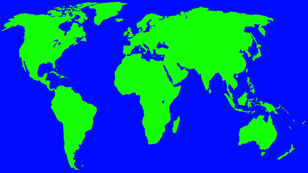 Green World Map In Blue Screen Free Stock Footage YouTube - Green and blue world map