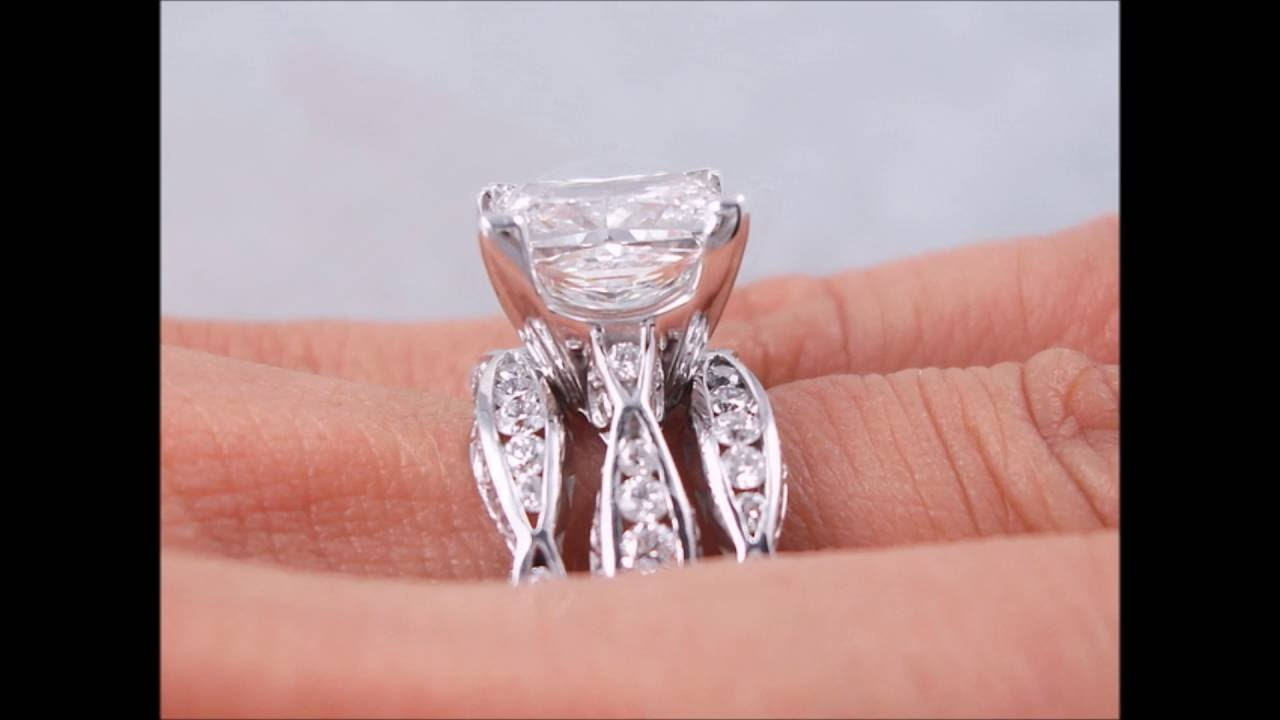4.75 ctw Princess Cut Diamond Engagement Ring and TWO Wedding Ring ...