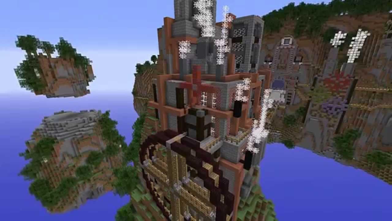 Minecraft Steampunk Floating City Timelapse Build - YouTube