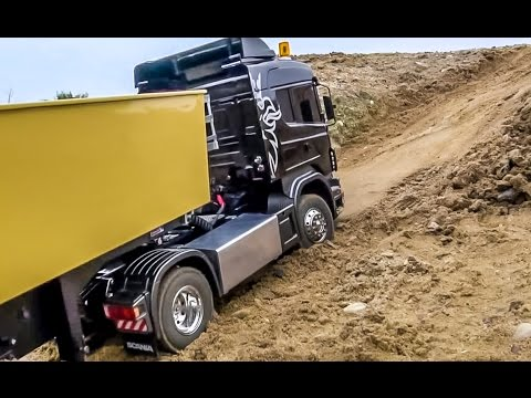 Thumbnail: RC truck RESCUE! Scania 4x4 truck got stuck! Amazing tipper ACTION!
