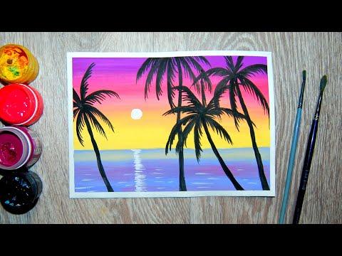Как нарисовать пальмы на закате