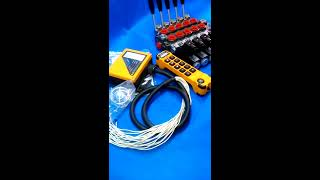 MONOBLOCK HYDRAULIC BANK MOTOR 5 SPOOL VALVES 60 l/min 12 VDC + JUUKO CONTROL PANEL WIRELESS video