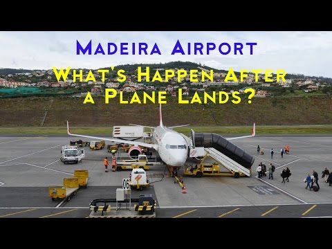 MADEIRA AIRPORT 4K Video (Funchal): Ground Services for Boeing 737 in Timlapse