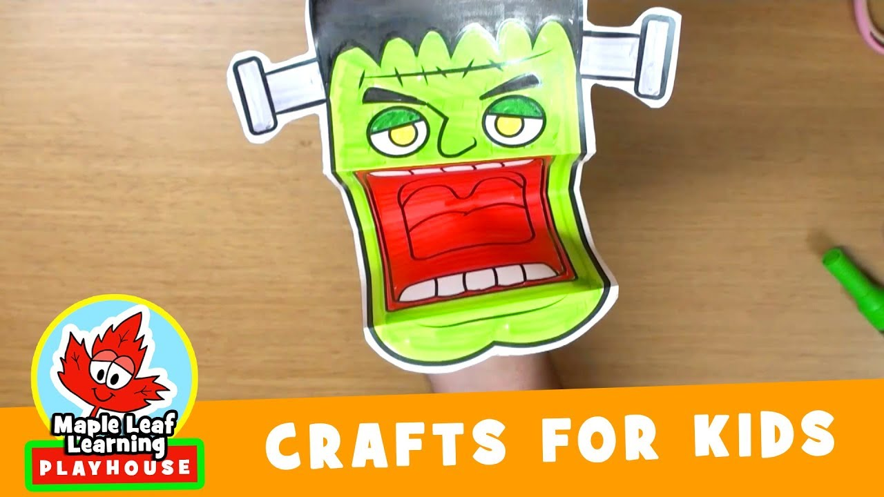 frankenstein puppet halloween craft | maple leaf learning playhouse