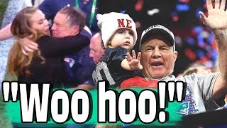 First! Bill Belichick, Happy and celebrating.. after winning the Super Bowl